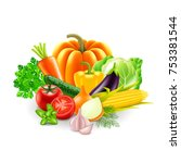 vegetables on white background... | Shutterstock .eps vector #753381544