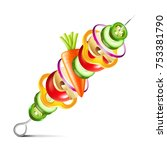 grilled vegetables vegan kebab... | Shutterstock .eps vector #753381790