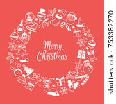 christmas greeting card. red... | Shutterstock .eps vector #753382270