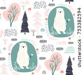 seamless pattern with cute dear ... | Shutterstock .eps vector #753382594