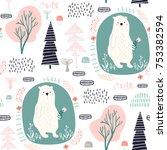 seamless pattern with cute dear ... | Shutterstock .eps vector #753382594