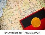 Small photo of Australia map with aboriginal flag