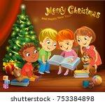 kids reading the book beside a... | Shutterstock .eps vector #753384898