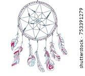 dreamcatcher. feathers. tattoo... | Shutterstock .eps vector #753391279