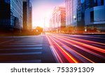 traffic light trail in between... | Shutterstock . vector #753391309