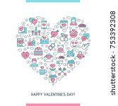 valentines day banner. flat... | Shutterstock .eps vector #753392308