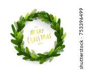 christmas fir tree wreath intro ... | Shutterstock .eps vector #753396499