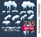 set of isolated snow cap. snowy ...   Shutterstock .eps vector #753403264