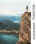 man standing on cliff mountains ...   Shutterstock . vector #753407230