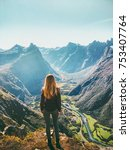 woman in norway mountains... | Shutterstock . vector #753407764