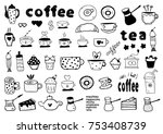 tea  coffee and desserts doodles | Shutterstock .eps vector #753408739