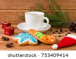 white cup with coffee and... | Shutterstock . vector #753409414