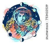 woman astronaut color tattoo... | Shutterstock .eps vector #753410539