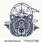 bear and compass tattoo and t... | Shutterstock .eps vector #753410788