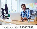 cheerful young programmer... | Shutterstock . vector #753412759