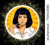 pop art young woman eating... | Shutterstock .eps vector #753413080