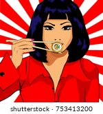 pop art young woman eating... | Shutterstock .eps vector #753413200