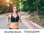 sporty young fitness girl... | Shutterstock . vector #753418399