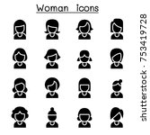 woman icon set