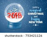 christmas greeting. magic snow... | Shutterstock .eps vector #753421126