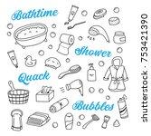 bath time  toilet  shower... | Shutterstock .eps vector #753421390