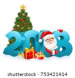 volumetric digits 2018 in the... | Shutterstock .eps vector #753421414