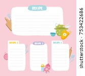 recipe cards set. cooking card... | Shutterstock .eps vector #753422686