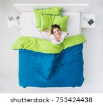 young happy woman waking up in... | Shutterstock . vector #753424438
