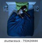 young woman sleeping in her... | Shutterstock . vector #753424444