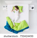 nervous woman sleeping and... | Shutterstock . vector #753424450