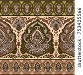 indian floral paisley seamless... | Shutterstock .eps vector #753425566