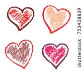 crayon valentine hearts love...   Shutterstock .eps vector #753428839