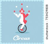 clown rides a bicycle and... | Shutterstock .eps vector #753429808