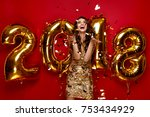 new year. woman with balloons... | Shutterstock . vector #753434929
