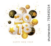 abstract 2018 new year greeting ... | Shutterstock .eps vector #753435214