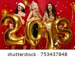 beautiful women celebrating new ... | Shutterstock . vector #753437848