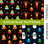 collection of christmas... | Shutterstock .eps vector #753450013