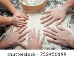 family cooking homemade cakes ... | Shutterstock . vector #753450199