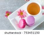 photo of cake macarons  gift... | Shutterstock . vector #753451150