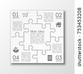 four sided 3d puzzle... | Shutterstock .eps vector #753453208