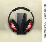 image headphones on smartphone... | Shutterstock .eps vector #753453328