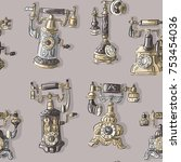 seamless pattern with antique... | Shutterstock .eps vector #753454036