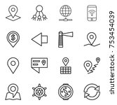 thin line icon set   pointer ... | Shutterstock .eps vector #753454039