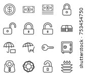 thin line icon set   dollar ... | Shutterstock .eps vector #753454750