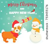 holiday greeting card with cute ... | Shutterstock .eps vector #753455176
