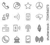 thin line icon set   phone ...