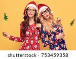 christmas new year. two young... | Shutterstock . vector #753459358