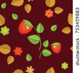 strawberries and flowers on a...   Shutterstock .eps vector #753459883