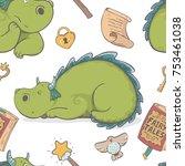 unique cute cartoon seamless... | Shutterstock .eps vector #753461038
