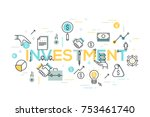Creative infographic banner with elements in thin line style. Investment, deal making, money earning and saving, financial profit. Modern vector illustration for advertisement, header, website. | Shutterstock vector #753461740